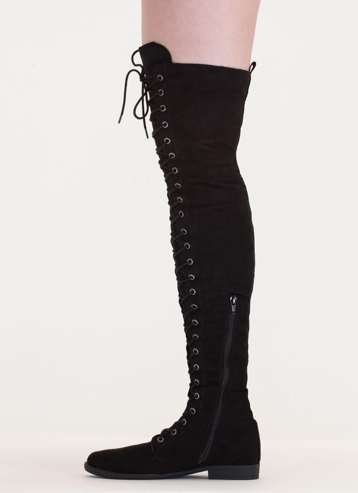 Over The Moon Lace-Up Thigh-High Boots BLACK
