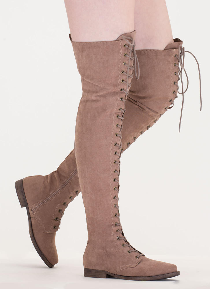 Over The Moon Lace-Up Thigh-High Boots