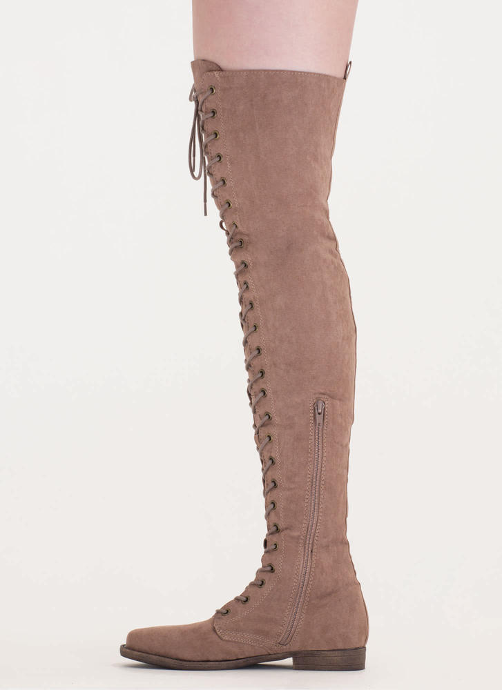 Over The Moon Lace-Up Thigh-High Boots TAUPE