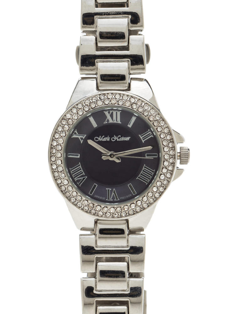 Time's Up Rhinestone Trim Watch SILVER
