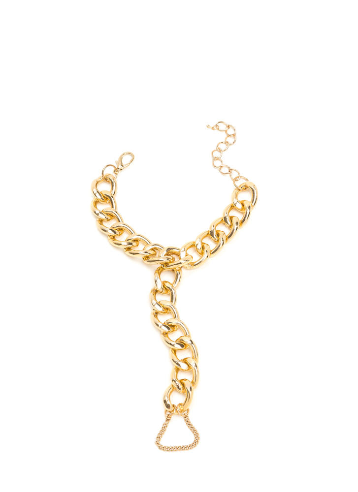 Fancy Feet Chunky Chain Anklet GOLD