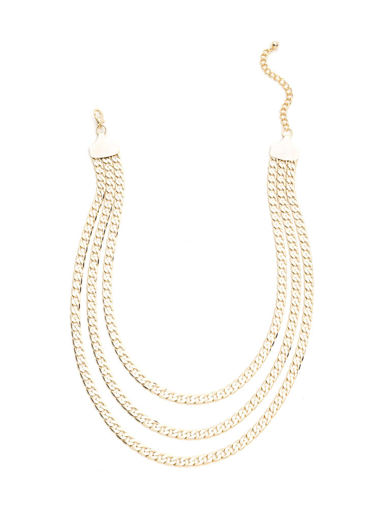 Rule Of Three Layered Chain Necklace GOLD