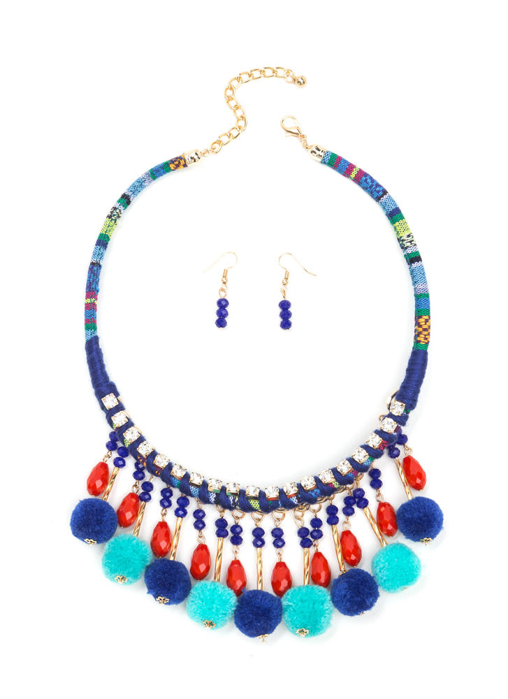 Cheer Squad Pom-Pom Necklace Set BLUE