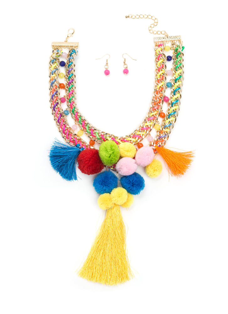 Cheer You On Pom-Pom Necklace Set MULTI