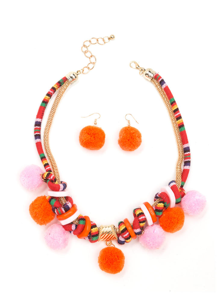 Wave Your Pom-Poms Necklace Set