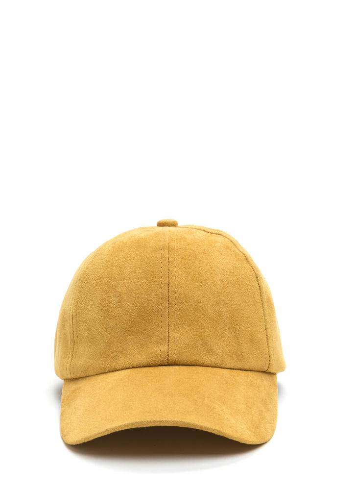 Soft Touch Faux Suede Cap MUSTARD
