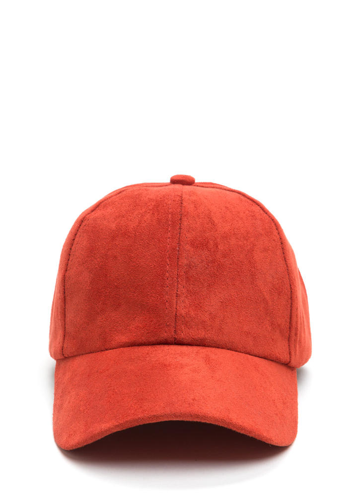 Soft Touch Faux Suede Cap RUST