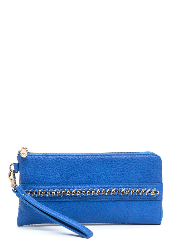 Chain Event Faux Leather Clutch