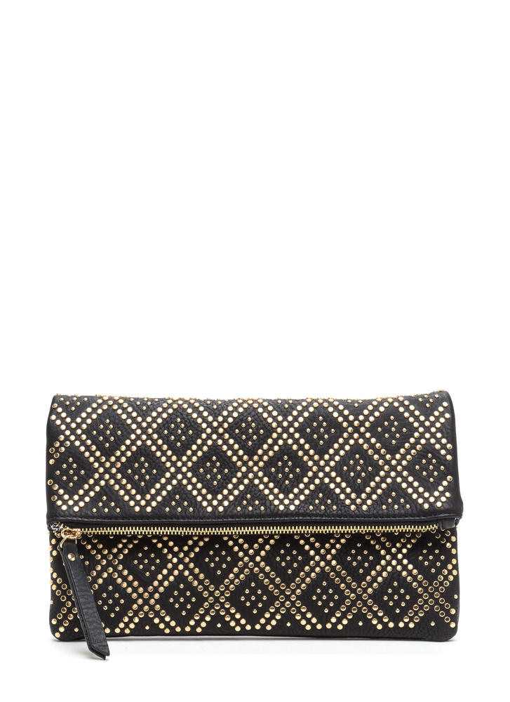 Lattice Go Studded Foldover Clutch BLACK