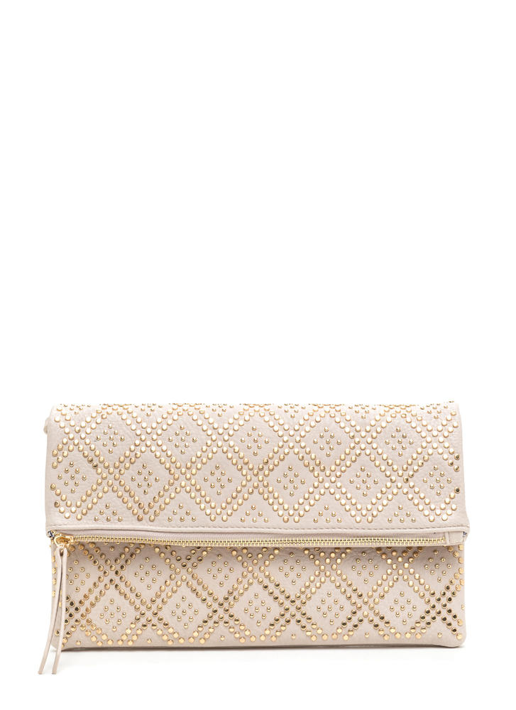 Lattice Go Studded Foldover Clutch