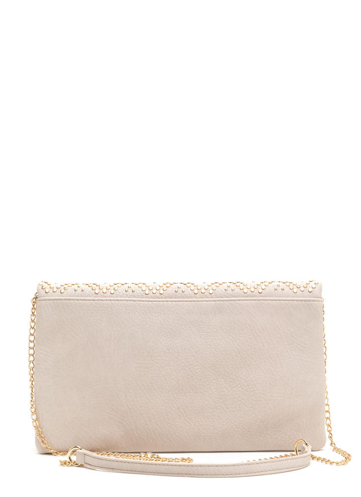 Lattice Go Studded Foldover Clutch BONE