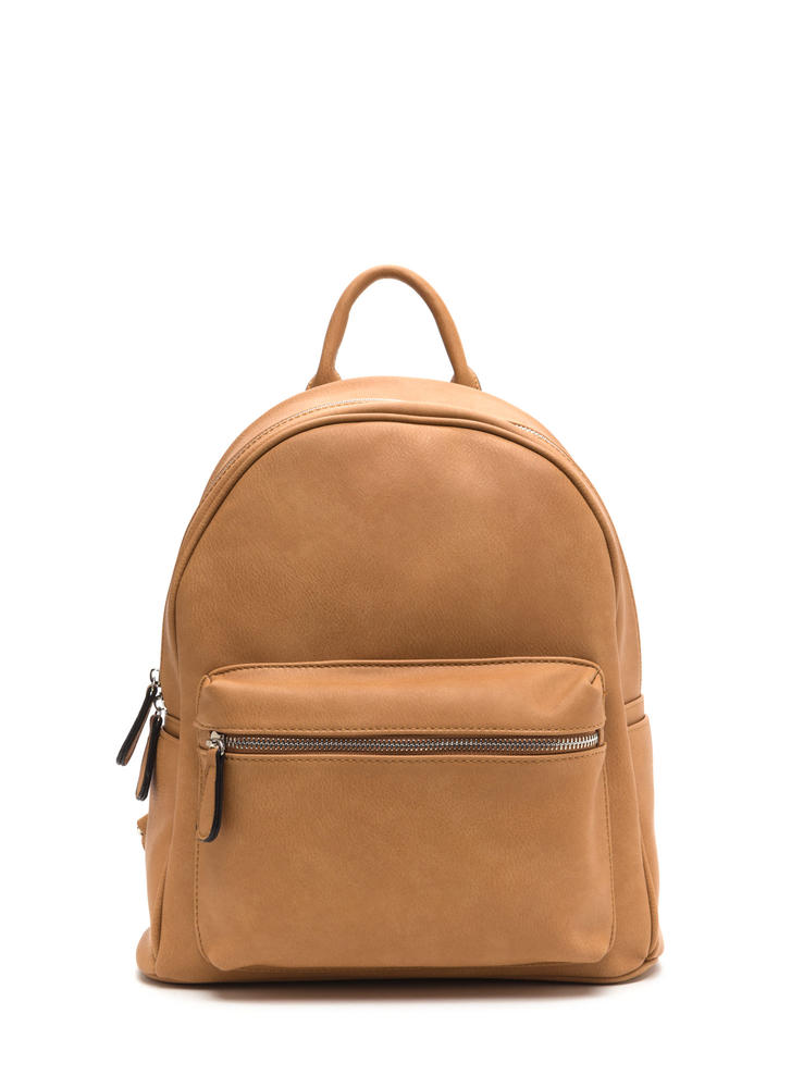 Chic Your Mind Faux Leather Backpack CAMEL