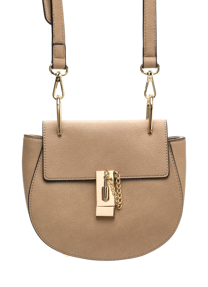 Lock Down Faux Leather Saddle Bag TAUPE