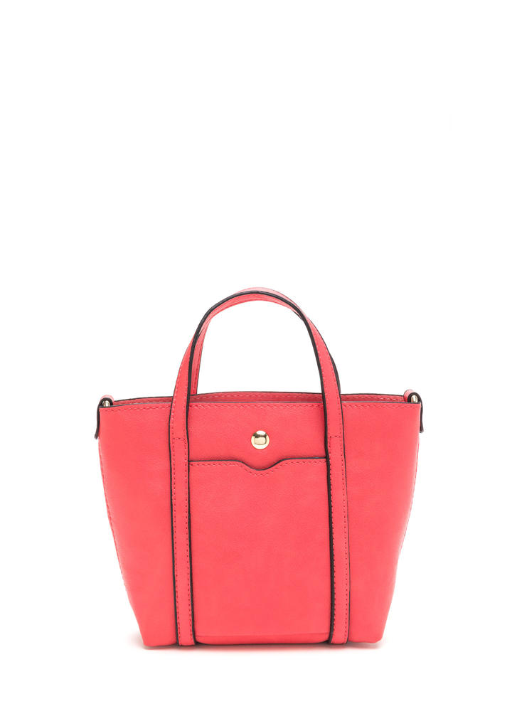 Mini Me Faux Leather Tote Bag CORAL