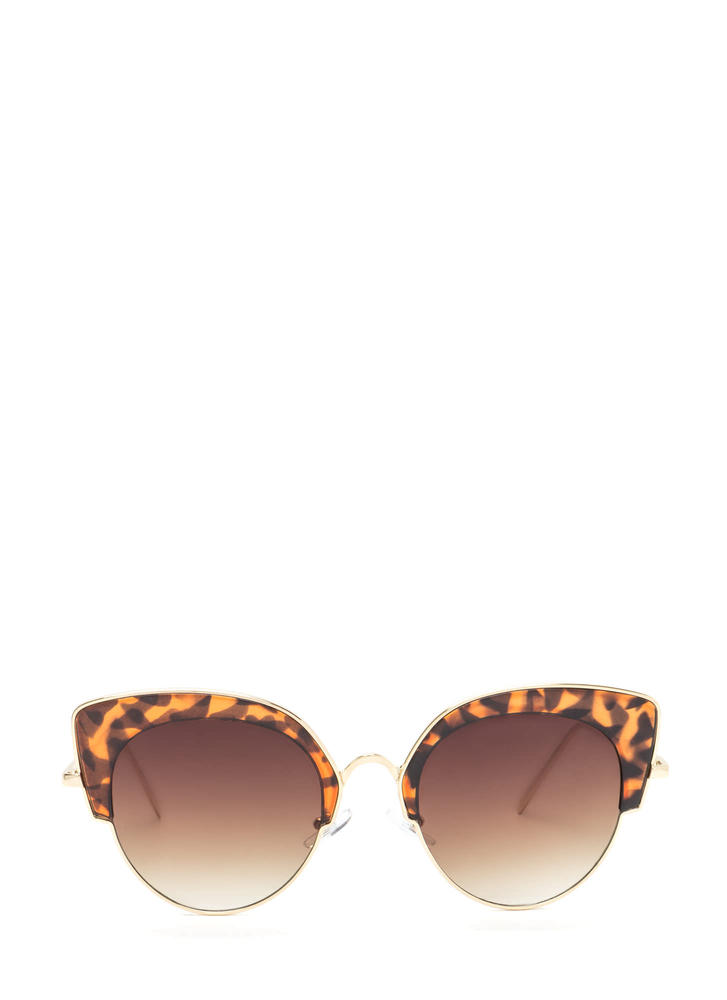 Vintage Star Round Cat-Eye Sunglasses BROWNGOLD