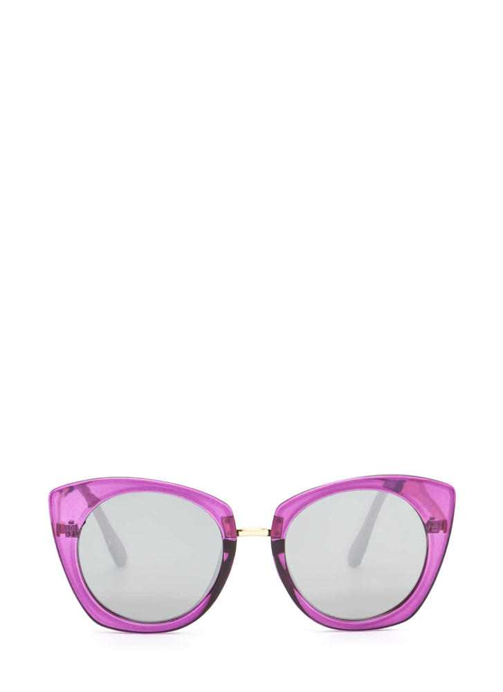 Mod Style Cat-Eye Sunglasses PURPLE