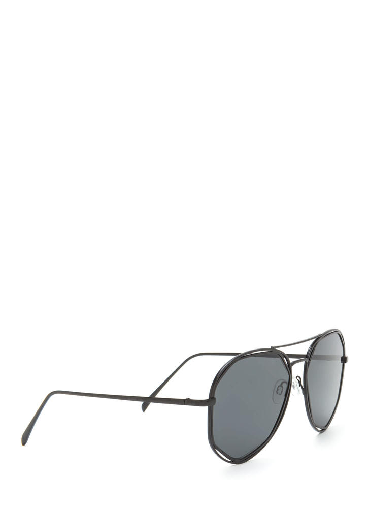 Lucky Seven Aviator Sunglasses BLACKBLACK