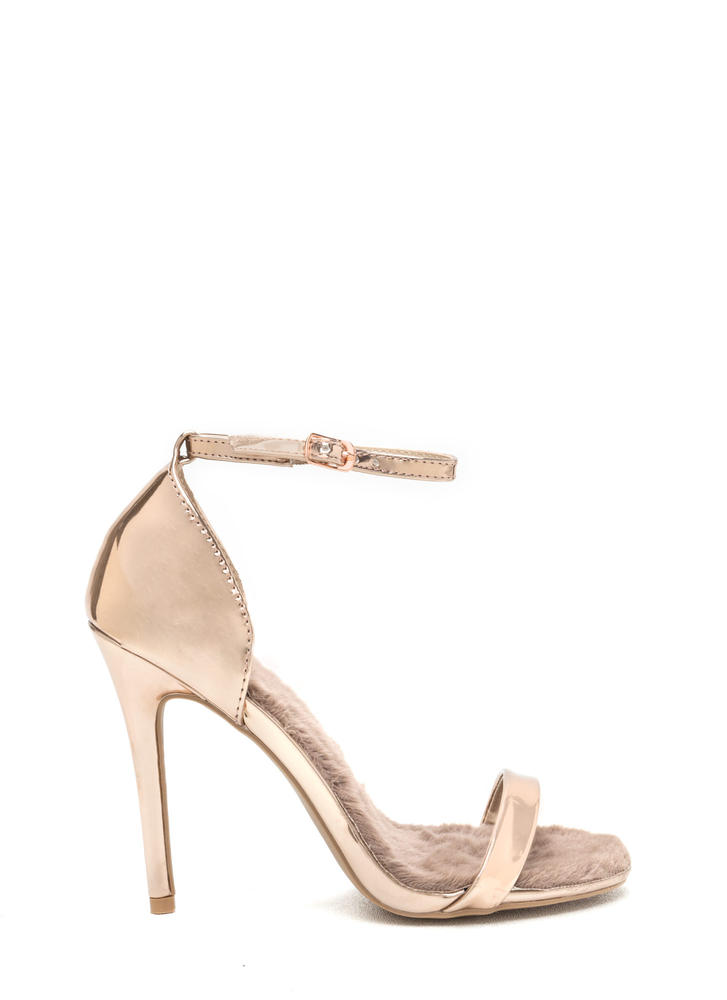 Fur Real Metallic Stiletto Heels ROSEGOLD