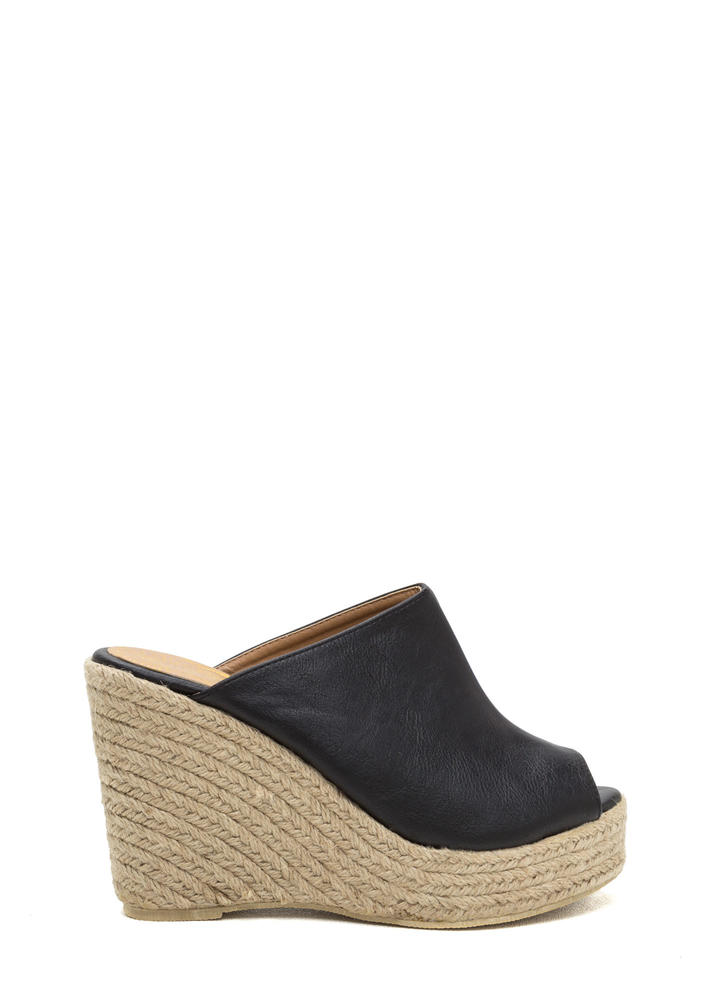 French Riviera Espadrille Mule Wedges