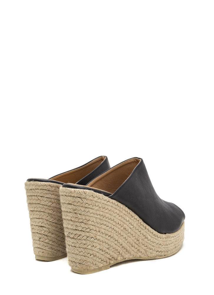 French Riviera Espadrille Mule Wedges BLACK