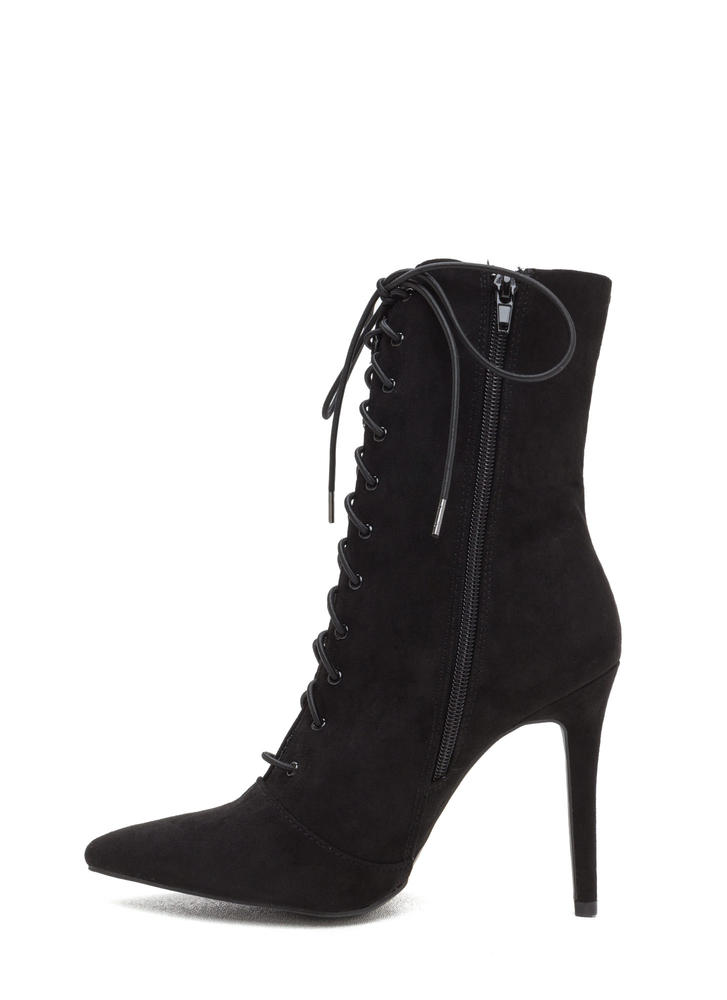 Make A Point Lace-Up Stiletto Booties BLACK