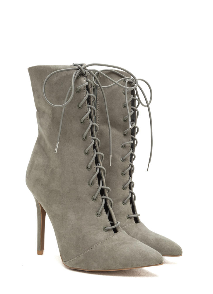 Make A Point Lace-Up Stiletto Booties KHAKI