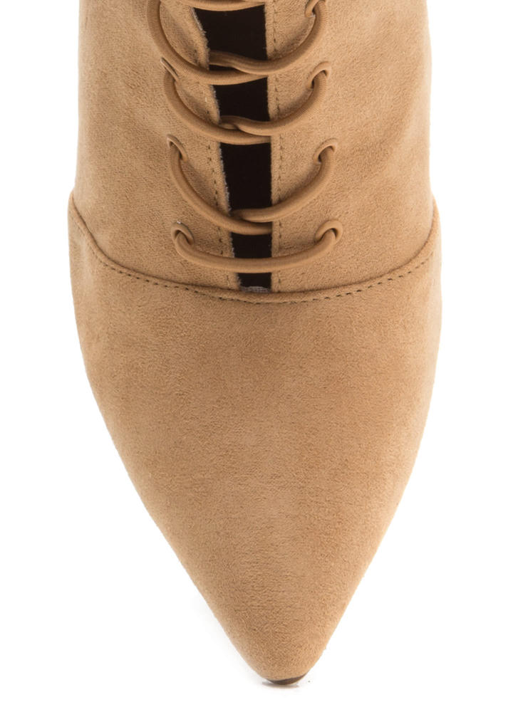Make A Point Lace-Up Stiletto Booties TOFFEE