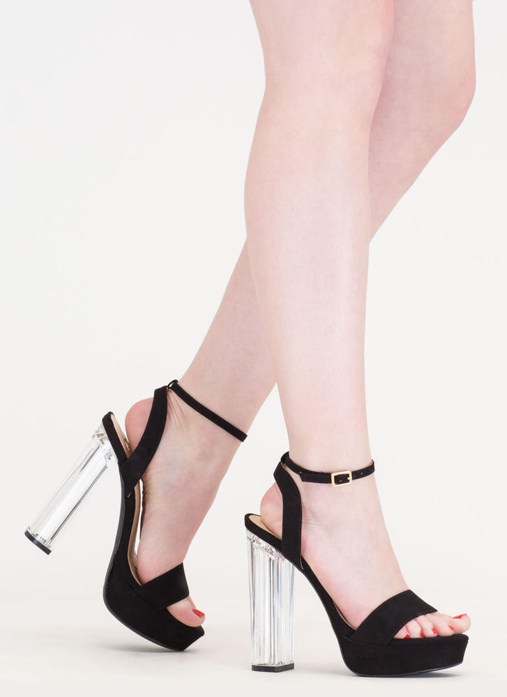 Clear And Now Chunky Lucite Heels BLACK