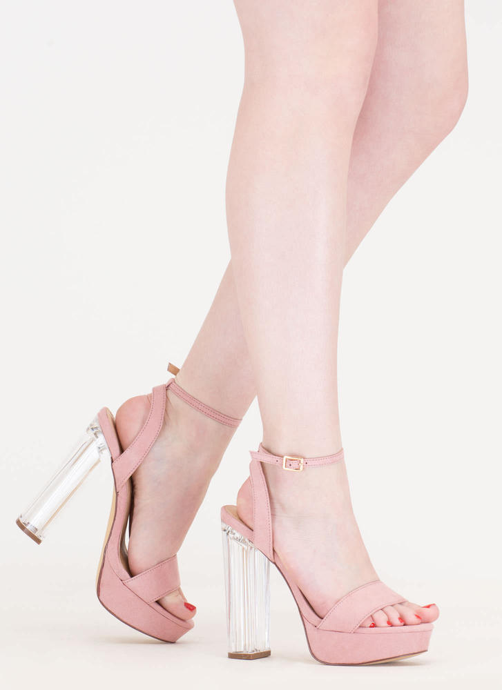 Clear And Now Chunky Lucite Heels