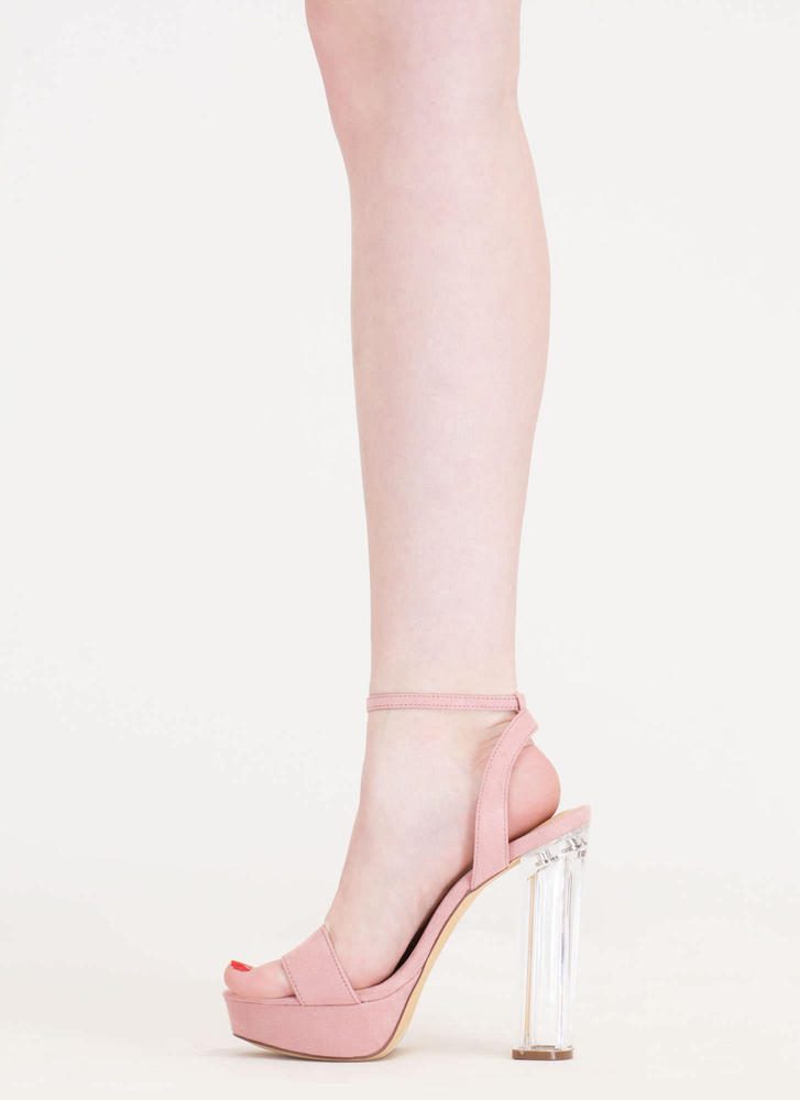 Clear And Now Chunky Lucite Heels DUSTYPINK (Final Sale)