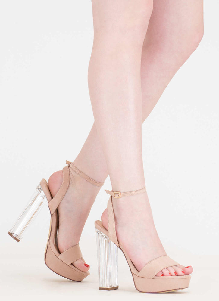 Clear And Now Chunky Lucite Heels NUDE