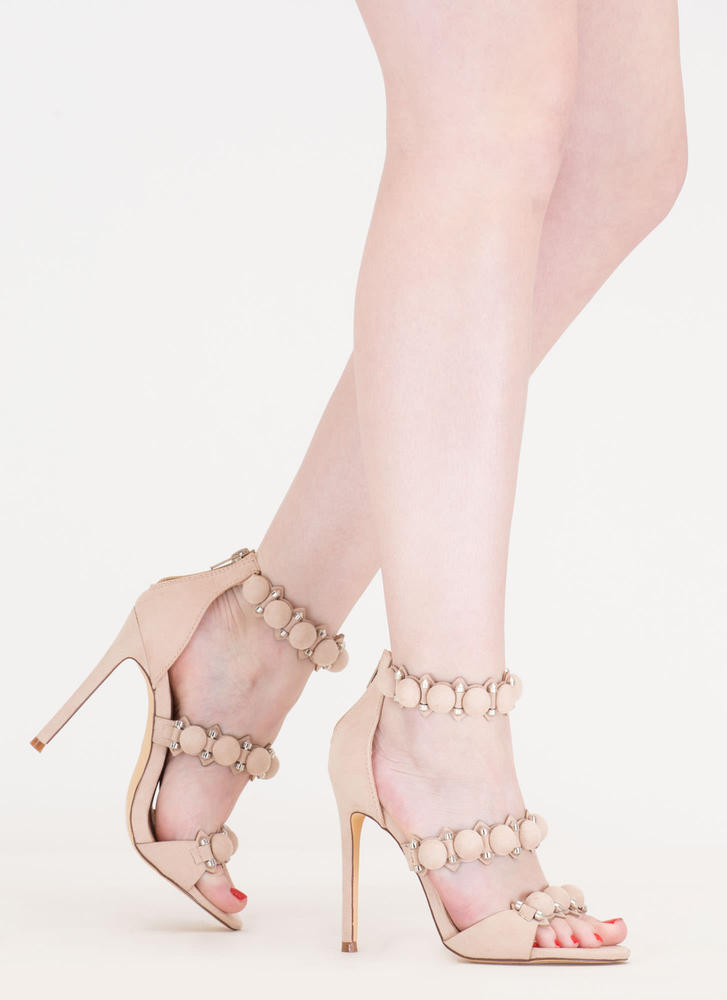 Dome Sweet Dome Stud Strap Heels NUDE