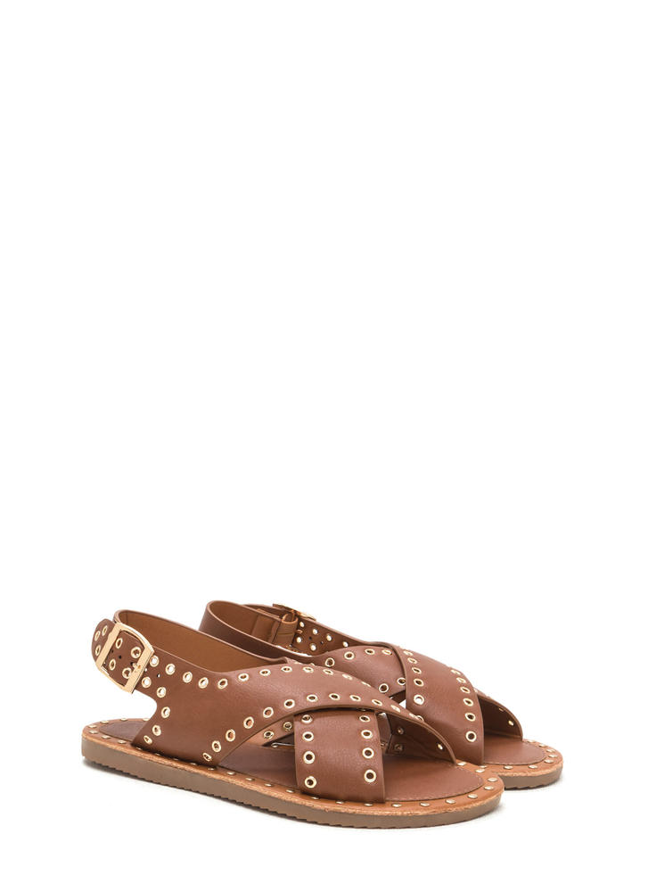 Hole In One Crisscrossed Sandals COGNAC