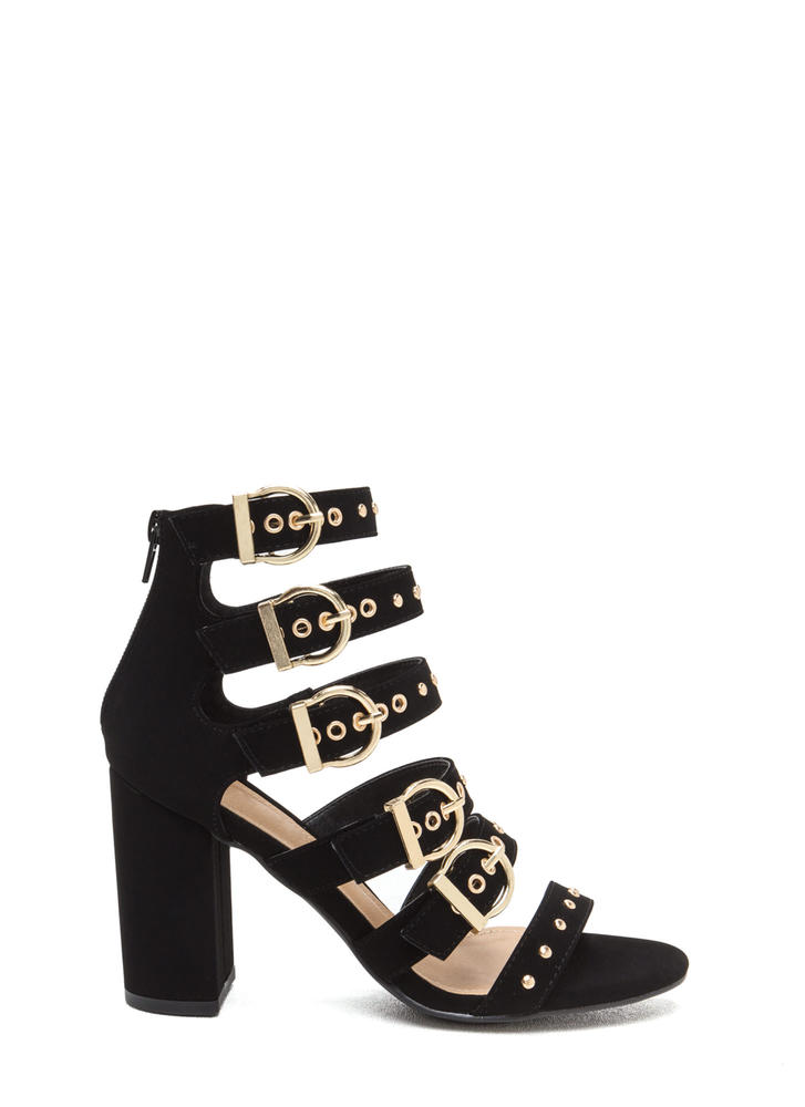 Gimme Five Buckled Chunky Heels