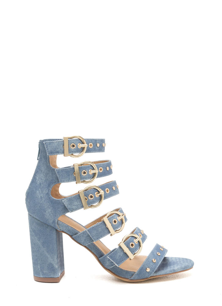 Gimme Five Buckled Denim Heels