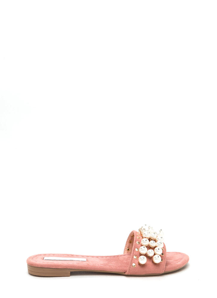 Pearly Girl Studded Faux Suede Slippers