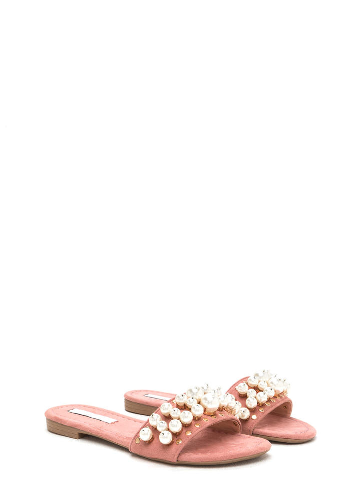 Pearly Girl Studded Faux Suede Slippers DUSTYPINK