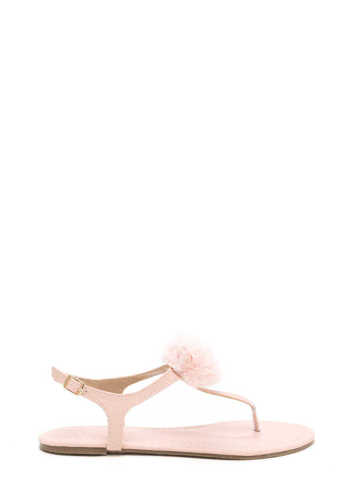Pom Dot Com T-Strap Thong Sandals BLUSH