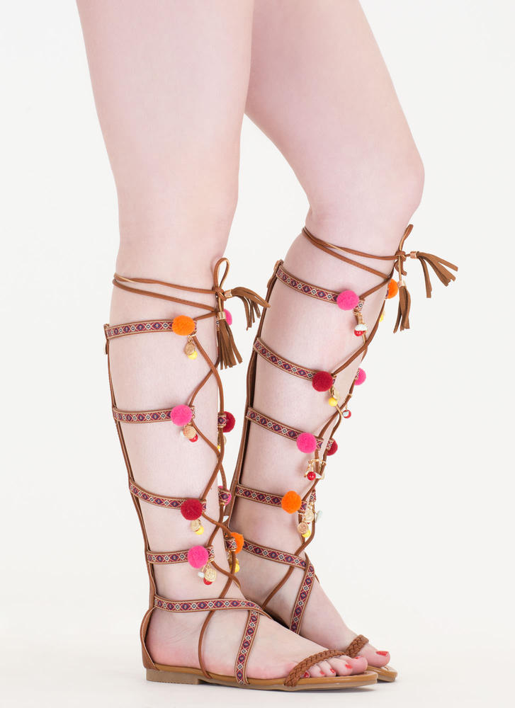 Charm School Pom-Pom Gladiator Sandals