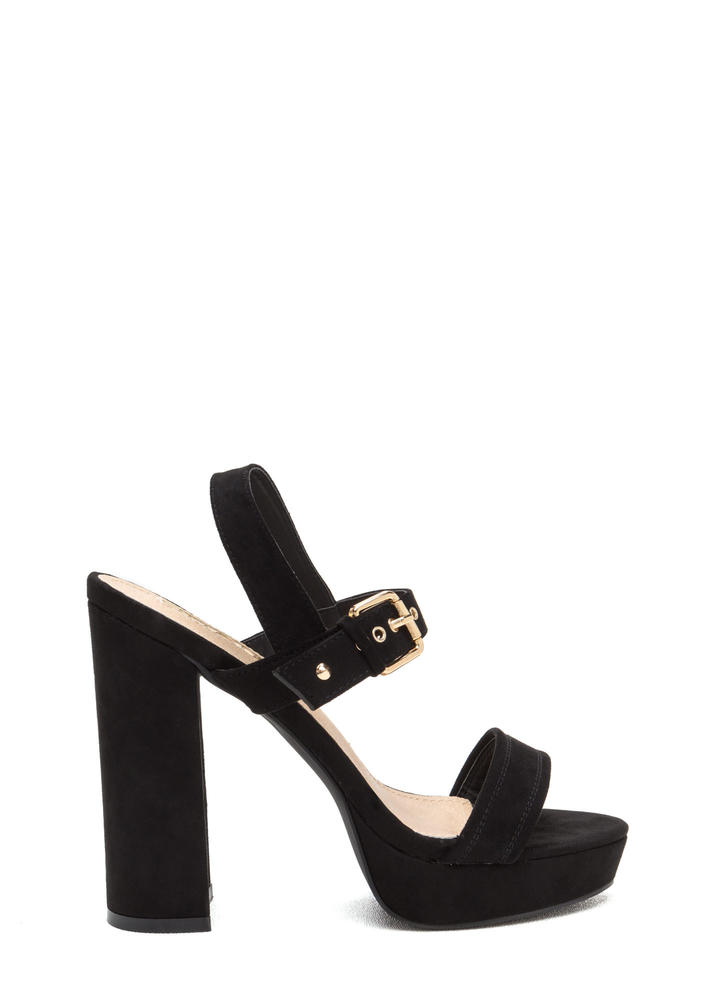 Buckled Beauty Chunky Platform Heels BLACK