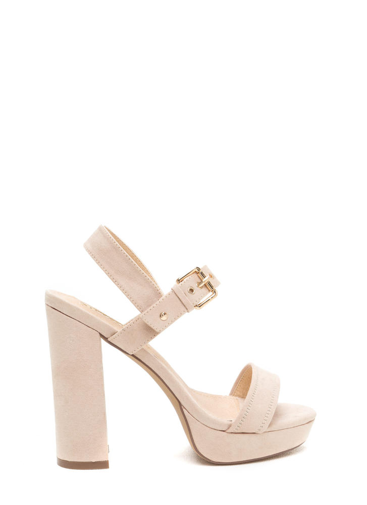 Buckled Beauty Chunky Platform Heels NUDE
