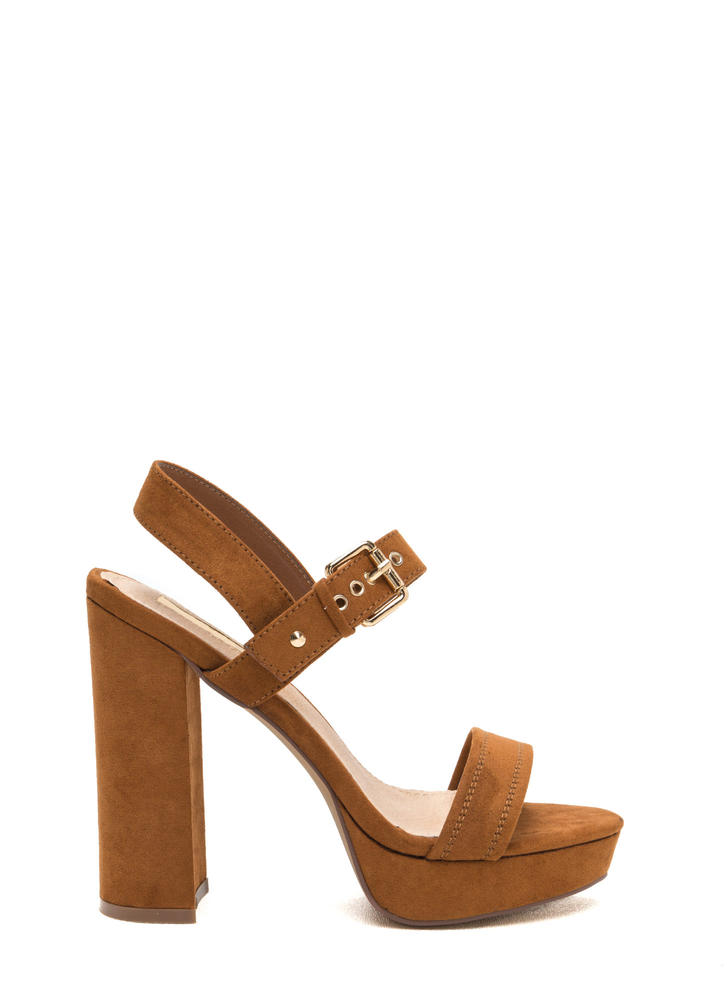 Buckled Beauty Chunky Platform Heels TAN