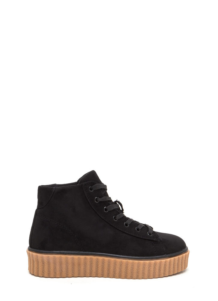 Dramatic Rise High-Top Creeper Sneakers BLACK