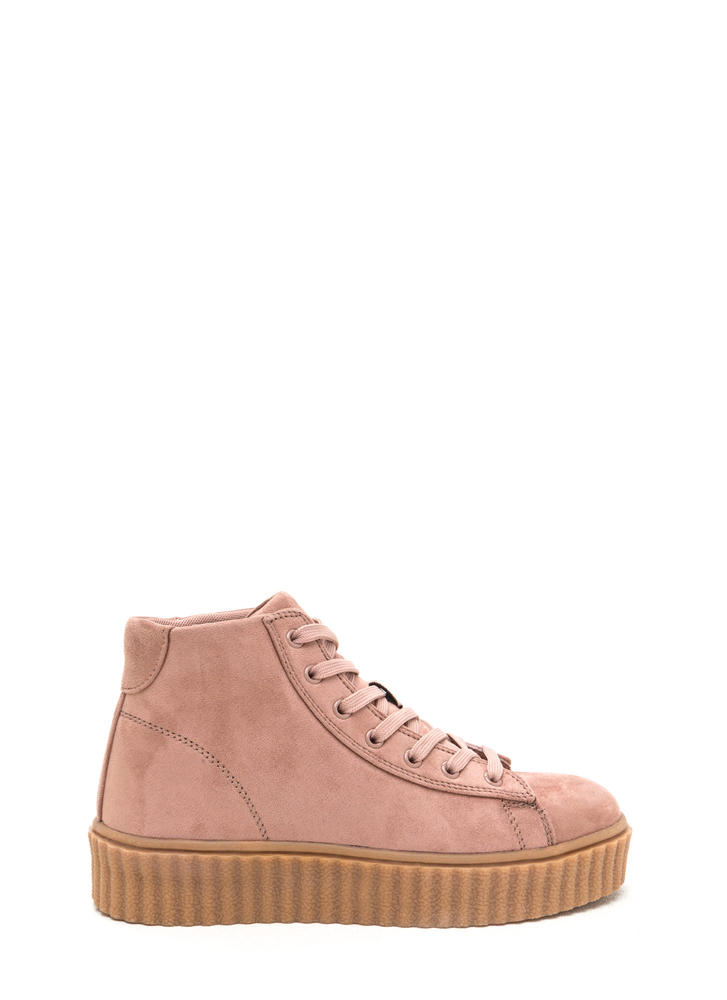 Dramatic Rise High-Top Creeper Sneakers MAUVE