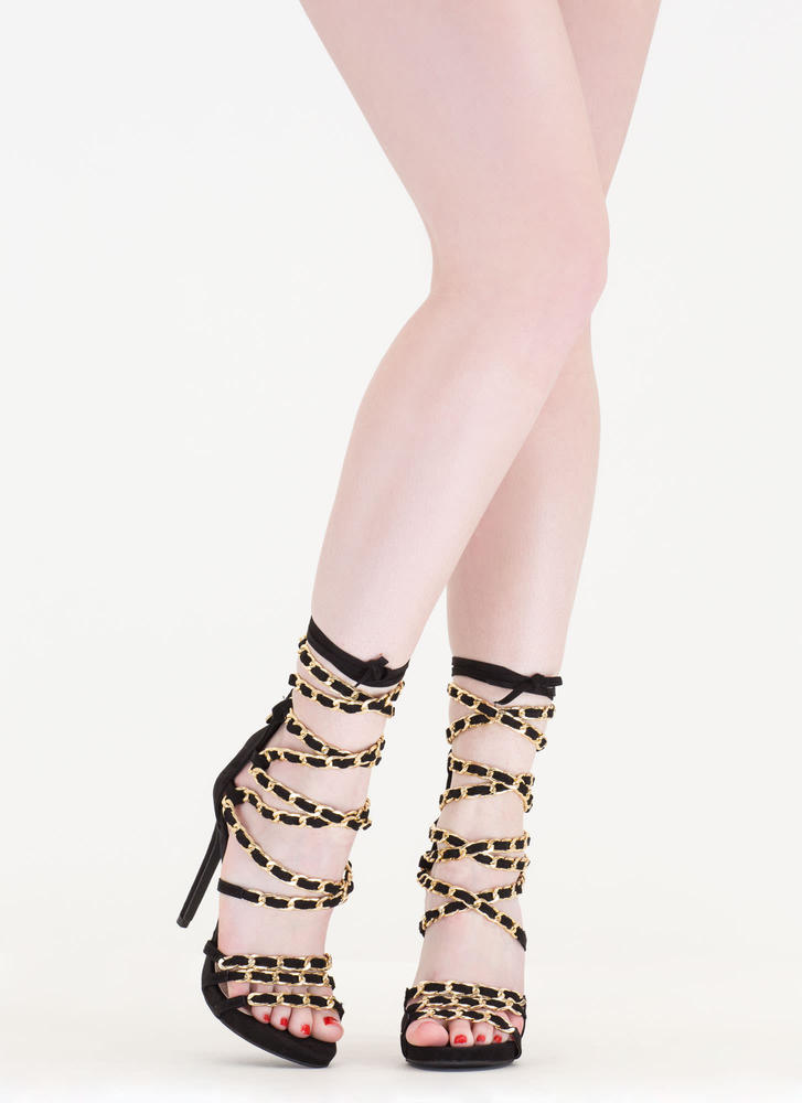 Start A Chain Strap Lace-Up Sandals BLACK