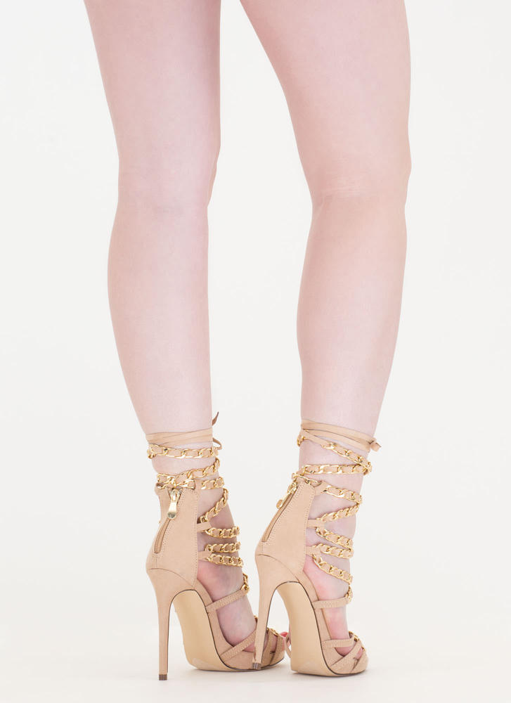 Start A Chain Strap Lace-Up Sandals NUDE