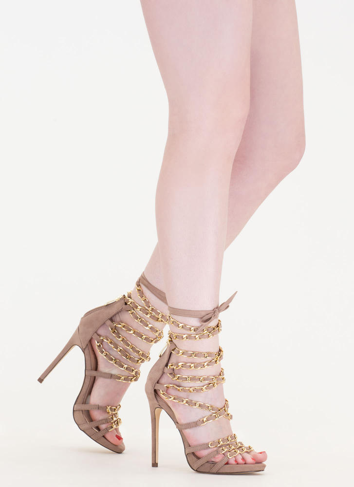 Start A Chain Strap Lace-Up Sandals TAUPE