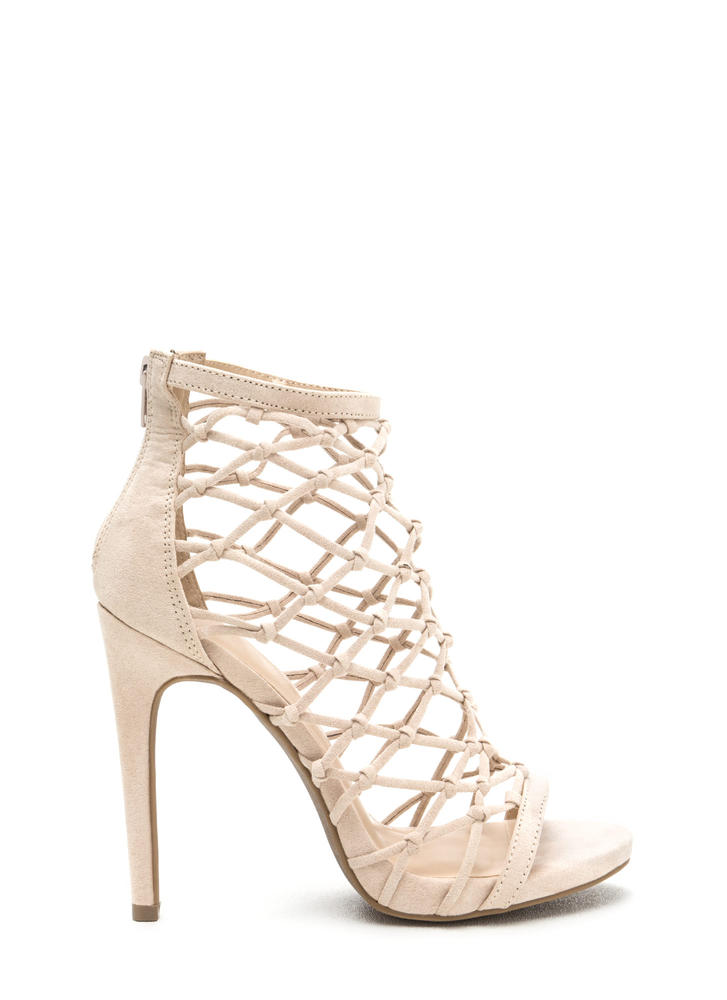 Knotted And Netted Caged Heels NUDE