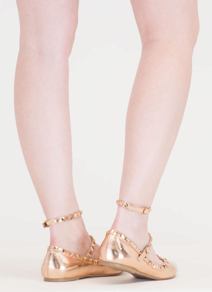 Shine On Pointy Studded Caged Flats ROSEGOLD