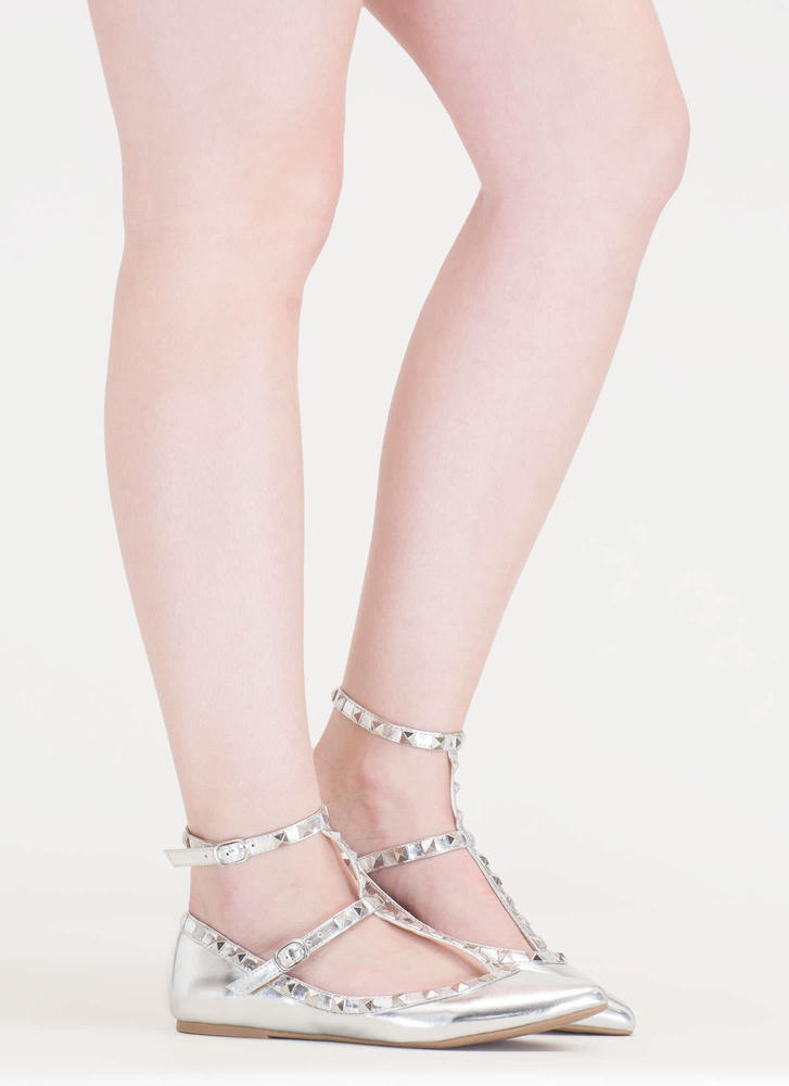 Shine On Pointy Studded Caged Flats SILVER